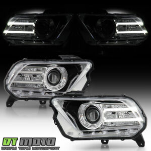 halogen Model 2010 2014 Ford Mustang W led Drl Tube Projector Headlight Chrome