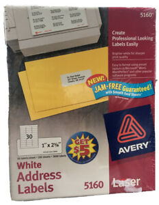 Avery 5160 White Address Labels 100 Sheets 3000 Labels Laser