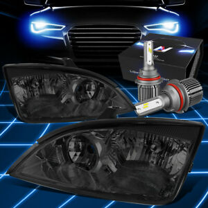 Fit 2005 2007 Ford Focus Replacement Headlight Lamps W led Kit cool Fan Smoked