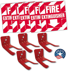 Fire Extinguisher Sign Sticker Bracket Wall Mount Pack Of 5 Self Adhesive Deca