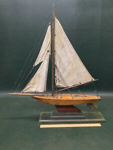 Antique Sailing Pond Model Sail Boat Nicely Made
