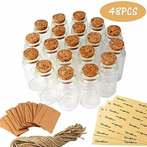 48pcs 25ml Glass Bottles With Cork Small Jars Wedding Favors Personalized Label