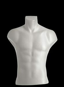 Male Torso Dress Form Mannequin Display Bust White 5027