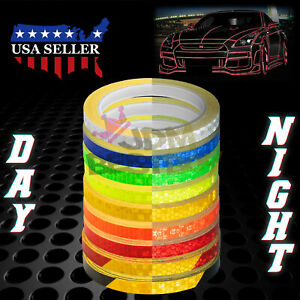 Reflective Safety Tape Self Adhesive Pinstripe Sticker Strip Decal 26ft Roll 1cm