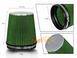 Green 6 Inches 152mm Inlet Cold Air Intake Cone Short Truck Filter