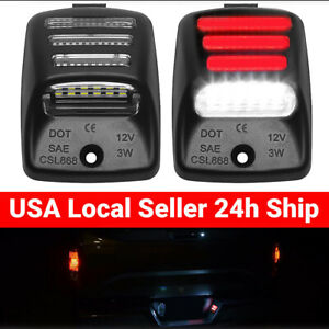 2pcs Fits 2000 2015 Toyota Tacoma Red Neon Smd Tube Led License Plate Tag Light