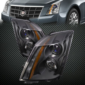 Headlights Set Black Housing Halogen Pair Fits 2008 2014 Cadillac Cts