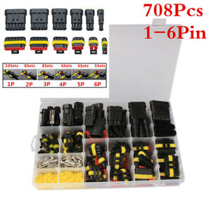 708pcs 1 6pin Car Sealed Electrical Wire Cable Connectors Plug Terminals Kits