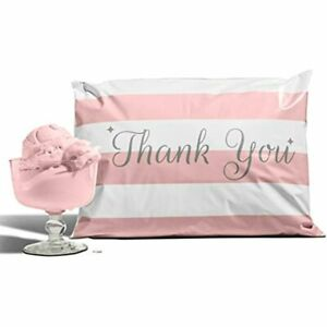10x13 Pack Of 100 Bubble Gum Reusable Poly Mailers Eco friendly Pink Thank You