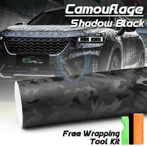 1ft X 5ft 3d Shadow Black Camouflage Car Vinyl Wrap Sticker Air Release