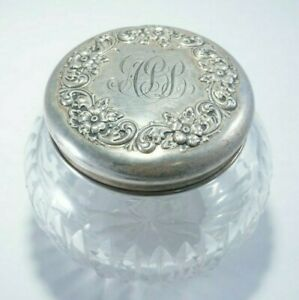 Victorian Cut Crystal Glass Powder Jar Sterling Silver Repousse Lid W Gold Wash