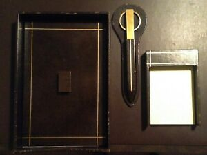 Leather Desk Set Vintage 1970s Gold Scissors Letter Opener Note Holder More