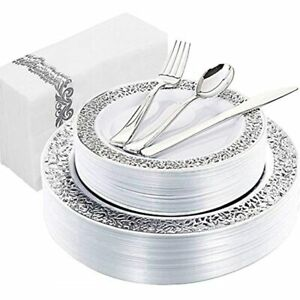 150pcs Silver Plastic Plates With Disposable Silverware amphand Napkins Lace 25