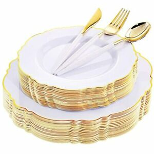 30guest Gold Plastic Plates amp Disposable Silverware With White Handle For