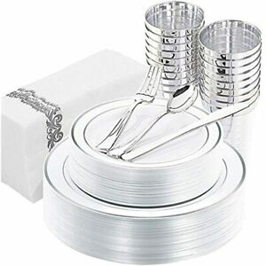 175pcs Silver Plastic Plates With Disposable Silverware ampcups amphand Rim 25