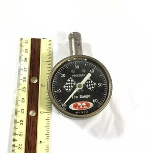 Vintage Meiser Accu gage Precision Tire Pressure Gauge Checker Flags Usa Tested