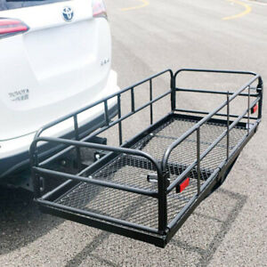 Foldable Hitch Cargo Carrier Mounted Travel Basket Luggage Rack With 2 Receiver