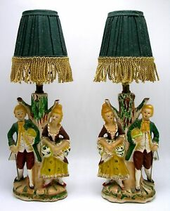Figural Victorian Courting Couple At Tree Bedside End Table Lamps Fringe Shade