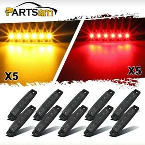 10 Pcs Amber Red Trailer Marker Lights 3 8 Smoked Thin Line Trailer Truck 6 Led