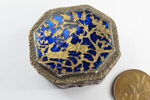 Antique Indian Silver Gold Blue Partabgarh Enamel Snuff Trinket Box C1800 S