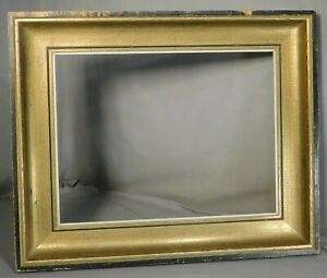 Mid Century Modern Gold Black Deep Cove Picture Frame 13x16 Abstract Painting