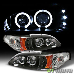 Black 94 98 Ford Mustang Dual Halo Projector Led Headlights Lights Left Right