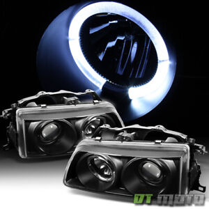 For 1990 91 Honda Civic Crx 2 3 4dr Led Halo Projector Blk Headlights Headlamps