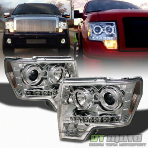 2009 2014 Ford F150 F 150 Led Halo Projector Headlights W drl Led Running Lights