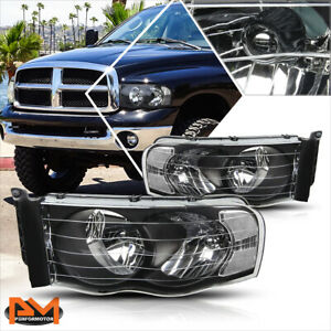 For 02 05 Dodge Ram 1500 3500 Black Housing Headlight Clear Corner Signal Lamps