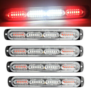 4x Red White 24 Led Car Truck Emergency Warning Hazard Flash Strobe Light Bar