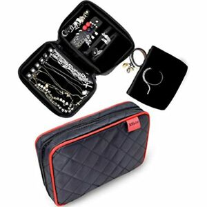 Quilted Travel Jewelry Organizer Pouch Case With Premium Soft Interior For amp