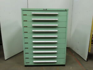 Industrial 10 Drawer Small Parts Tooling Storage Cabinet 45 w X 27 3 4 d X 61 t