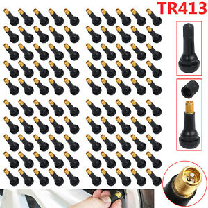 100 Tr413 Snap In Tire Valve Stems Short Black Rubber Most Popular Valve