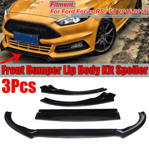 Glossy Black Front Bumper Lip Protector Cover 3pc For Ford Focus Rs St