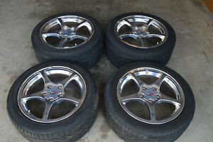 01 04 Corvette C5 Oem Wheels 17 18 Set Of 4 W Tires 48k Miles 12519