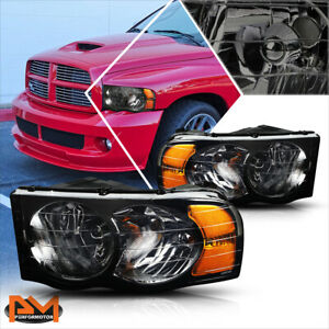 For 02 05 Dodge Ram 1500 3500 Smoked Housing Headlight Amber Corner Signal Lamps