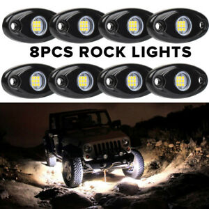 8x White Cree Led Rock Light For Off Road Underglow Foot Wheel Well Light Truck