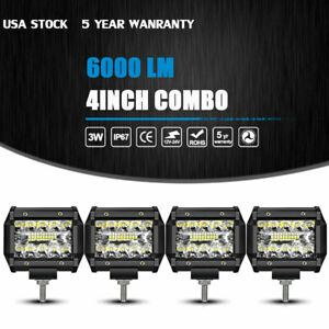4pc 4 Inch 4 row Led Spot Flood Combo Work Light Bar Off Road Driving Lamp 4