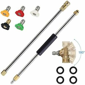 Pressure Washer Extension Spray Wand 4000 Psi 5 Tips 180 Degree Pivoting Power