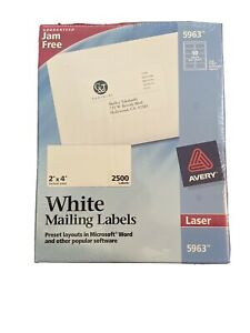 Avery White Mailing Labels 2 X 4 Laser 5963 Jam Free 2500 Labels