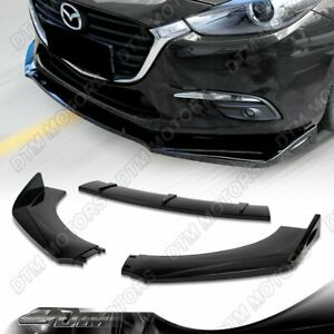 Painted Black Front Bumper Protector Body Splitter Spoiler Lip 3pcs Universal