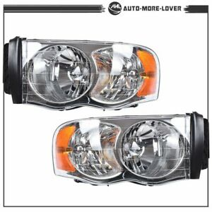 Left right Crystal Headlights For 2002 2005 Dodge Ram 1500 2003 2005 2500 3500