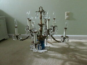 Vintage Or Antique Brass 10 Candle Crystal Chandelier With 60 Crystals