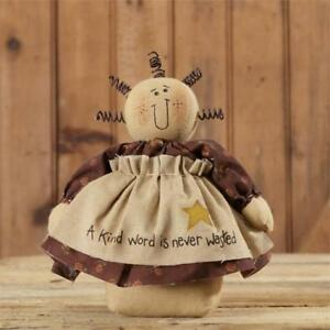 New Primitive Country Folk Art A Kind Word Is Never Wasted Doll Shelf Sitter 8