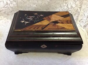 Japanese Antique Black Laquered Work Sewing Box With Inlaid Hand Painted Lid