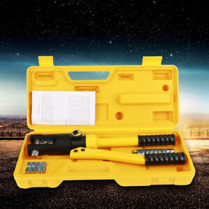 10 Ton Hydraulic Crimper Crimping Tool Wire Battery Cable Lug Terminal W 14 Dies