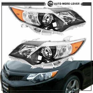 Left right Black Headlights Lamps For 2012 2014 Toyota Camry Se Style Projector