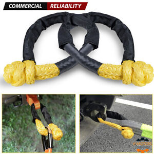 1 2 Synthetic Soft Shackle 38 000lbs Yellow Towing Strap Recovery Rope Truck