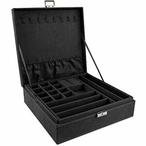 Double layer Jewelry Box Suede Lint Square Display Storage Case With Lock Black