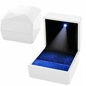 Led Ring Box For Proposal White Engagement Led Light Jewelry Gift Box Display